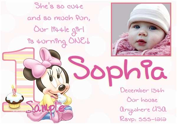 Minnie Mouse First Birthday Invitations 1st Birthday Invitation Minnie Mouse 365greetings