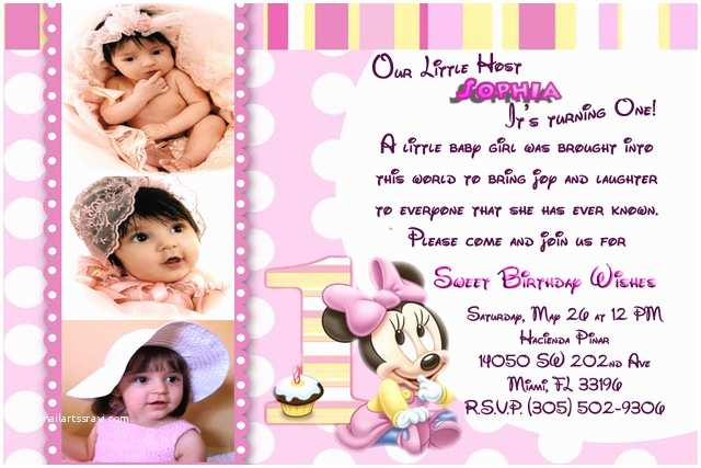 Minnie Mouse First Birthday Invitations Baby Minnie 1st Birthday Invitations