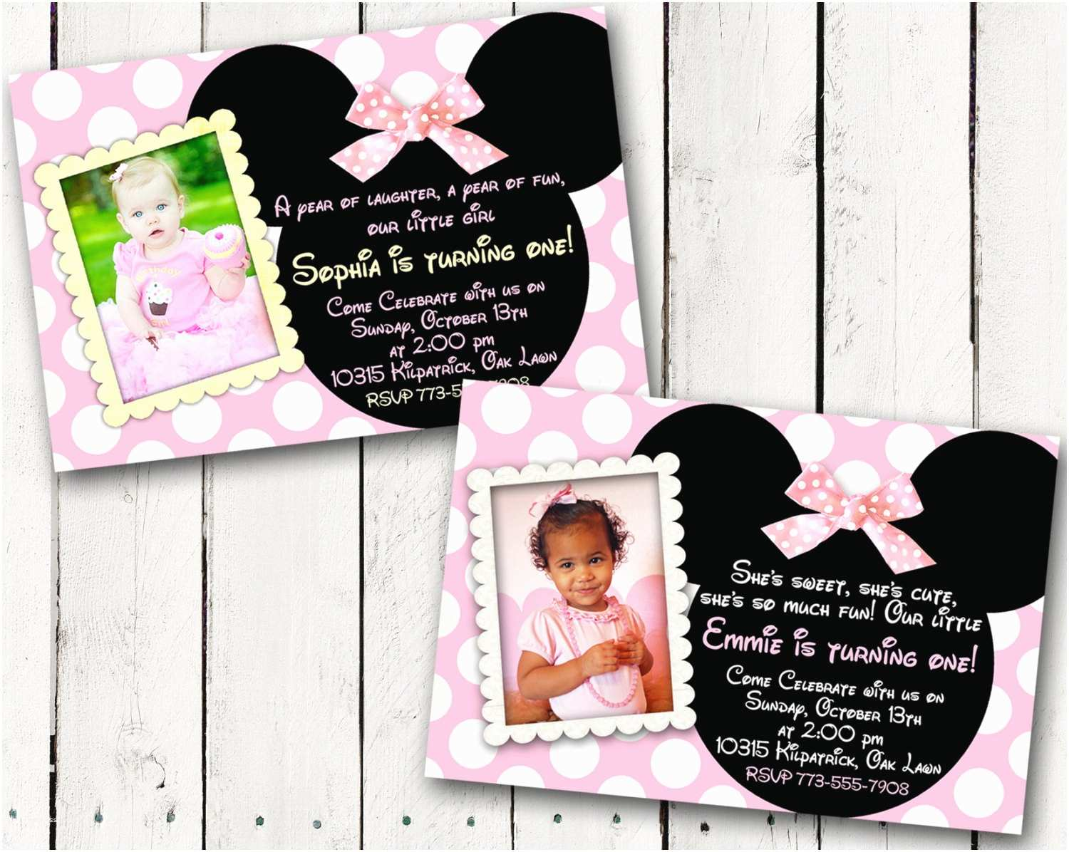 Minnie Mouse First Birthday Invitations Baby Minnie Mouse 1st Birthday Party Invitations
