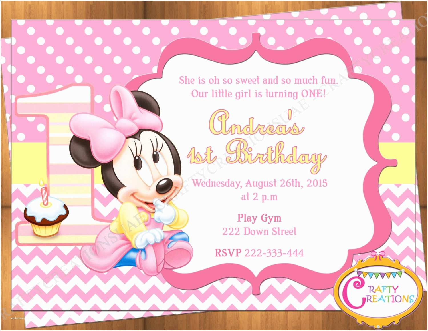 Minnie Mouse First Birthday Invitations Baby Minnie Mouse First Birthday Invitation Minnie Mouse 1st
