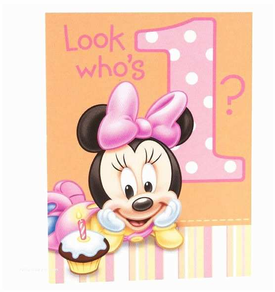 Minnie Mouse First Birthday Invitations Disney Minnie Mouse 1st Birthday 8 Invitations with
