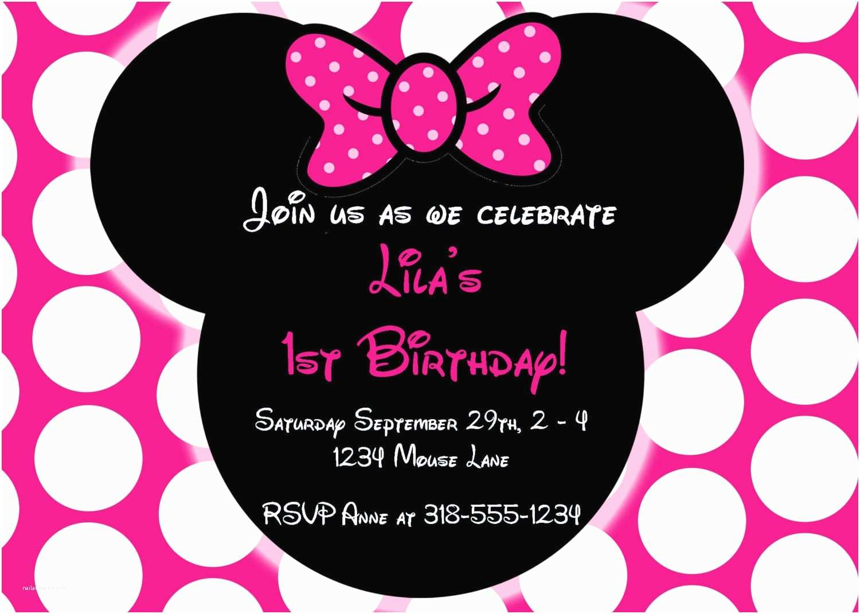 Minnie Mouse First Birthday Invitations Editable Free Minnie Mouse Invitation