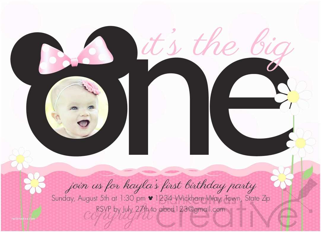 Minnie Mouse First Birthday Invitations First Birthday Invitation Minnie Mickey Mouse 1st Birthday