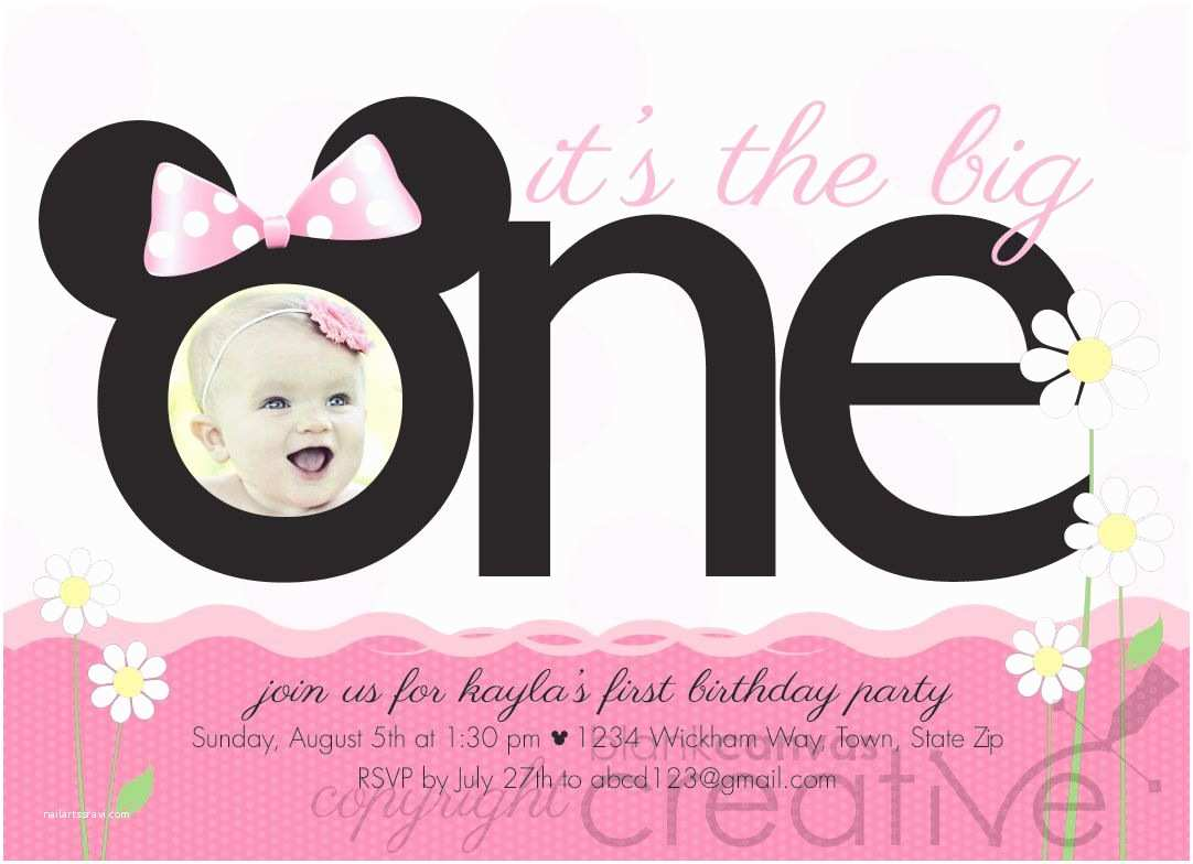 Minnie Mouse First Birthday Invitations First Birthday Invitation Minnie Mickey Mouse 1st