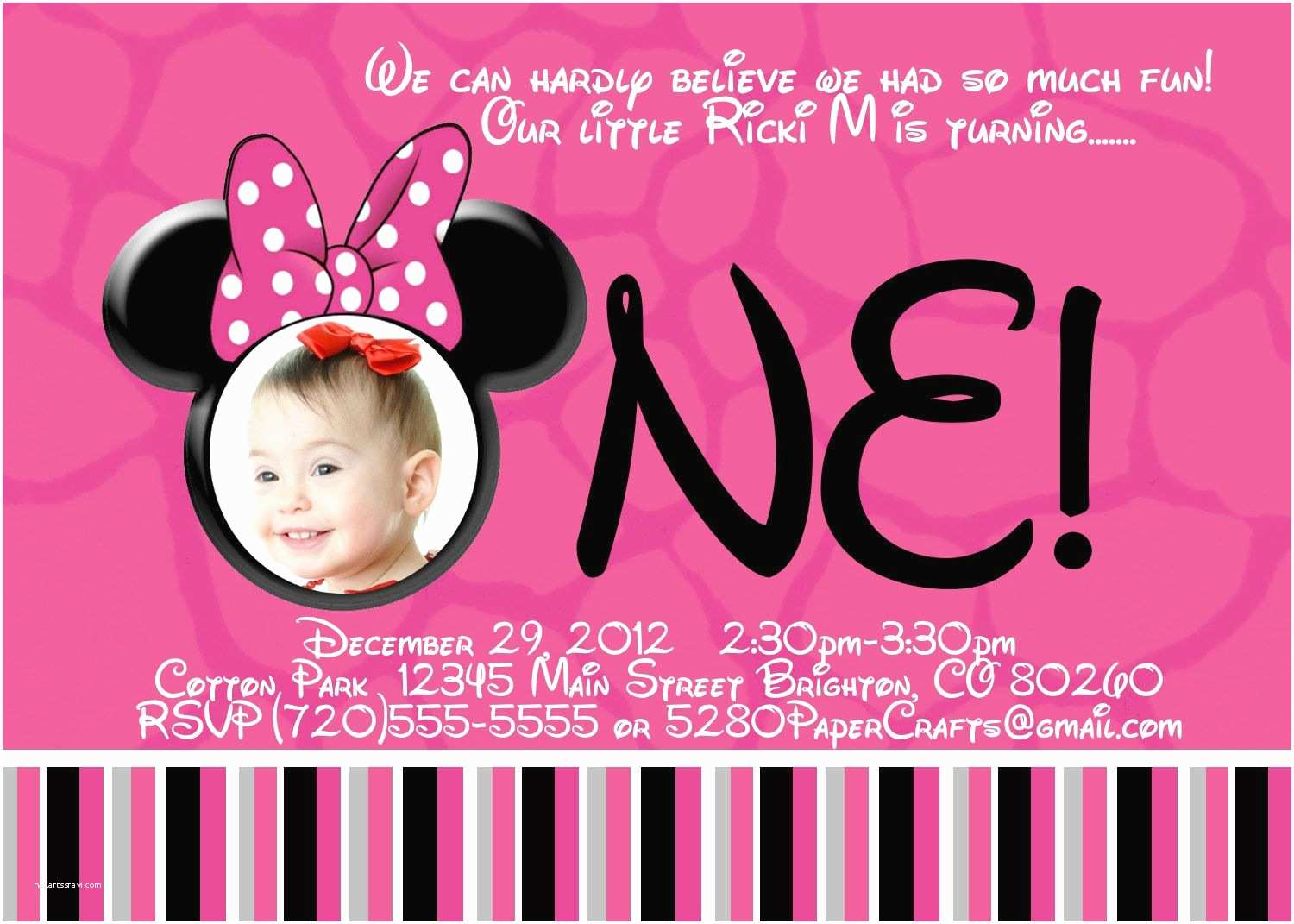 Minnie Mouse First Birthday Invitations Free Printable Minnie Mouse 1st Birthday Invitations