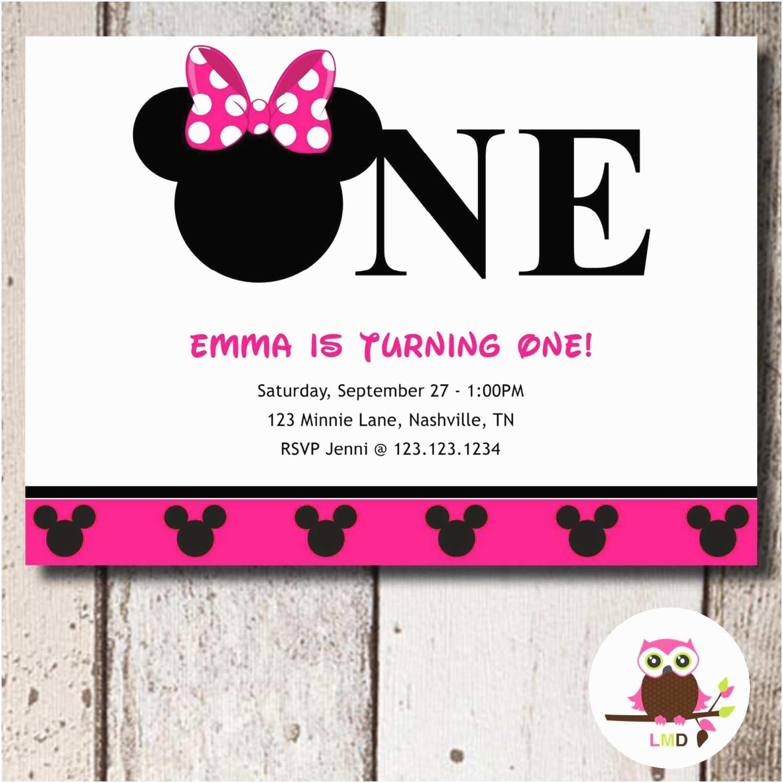 Minnie Mouse First Birthday Invitations Minnie Mouse 1st Birthday Invitation Printable Diy