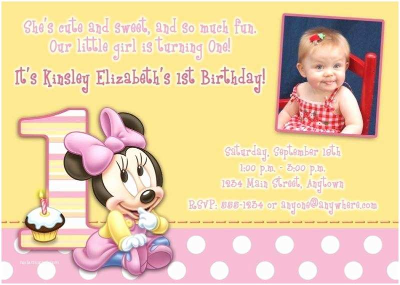 Minnie Mouse First Birthday Invitations Minnie Mouse 1st Birthday Invitations