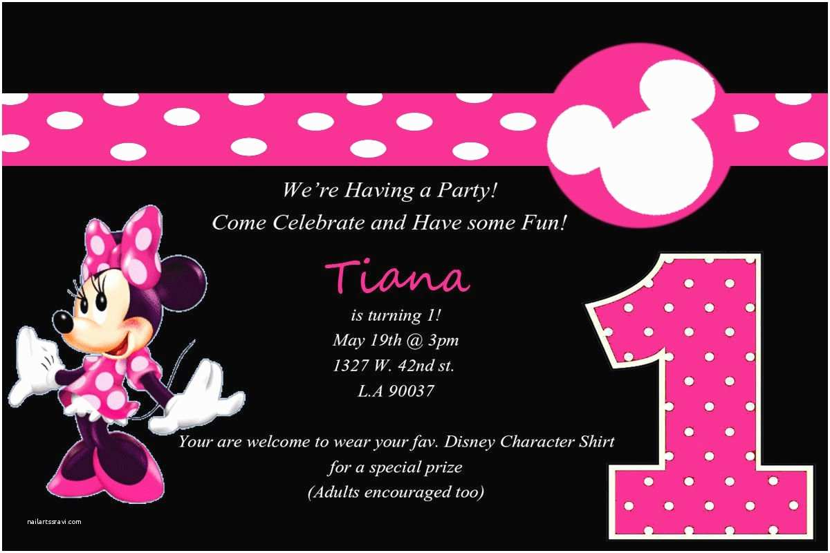 Minnie Mouse First Birthday Invitations Minnie Mouse 1st Birthday Party Invitations