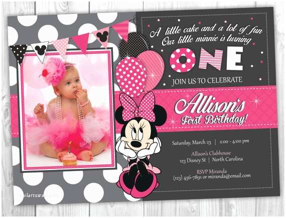 Minnie Mouse First Birthday Invitations Minnie Mouse Birthday Invitation Minnie by Yourmaineventprints