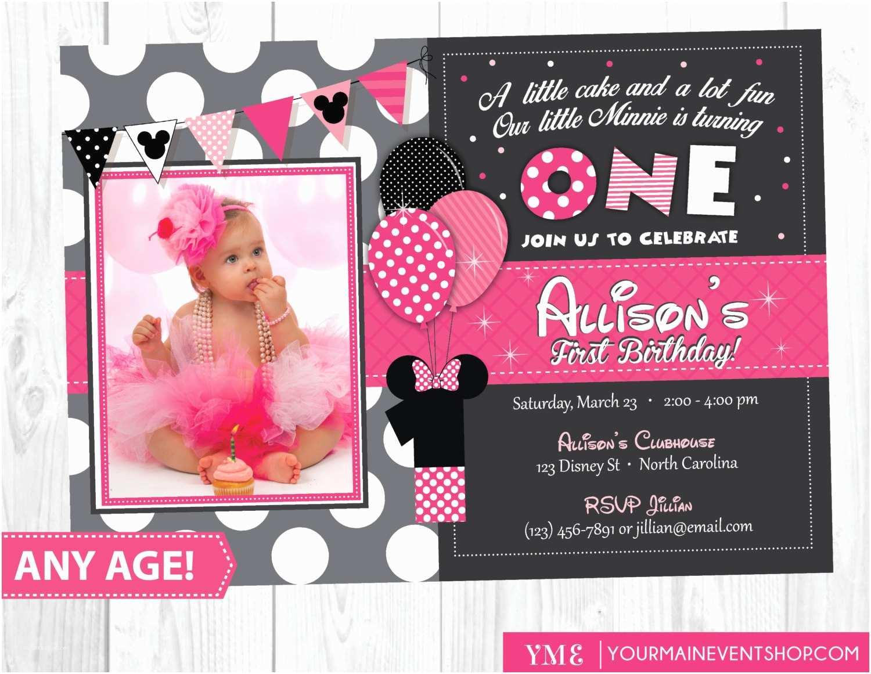 Minnie Mouse First Birthday Invitations Minnie Mouse Birthday Invitation Minnie Mouse Inspired