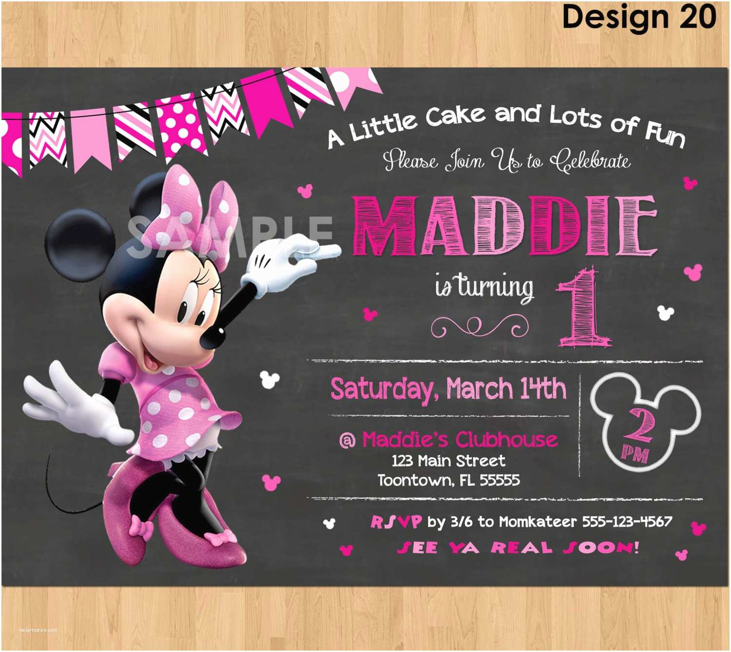 Minnie Mouse First Birthday Invitations Minnie Mouse Birthday Invitation Minnie Mouse Invitation 1st
