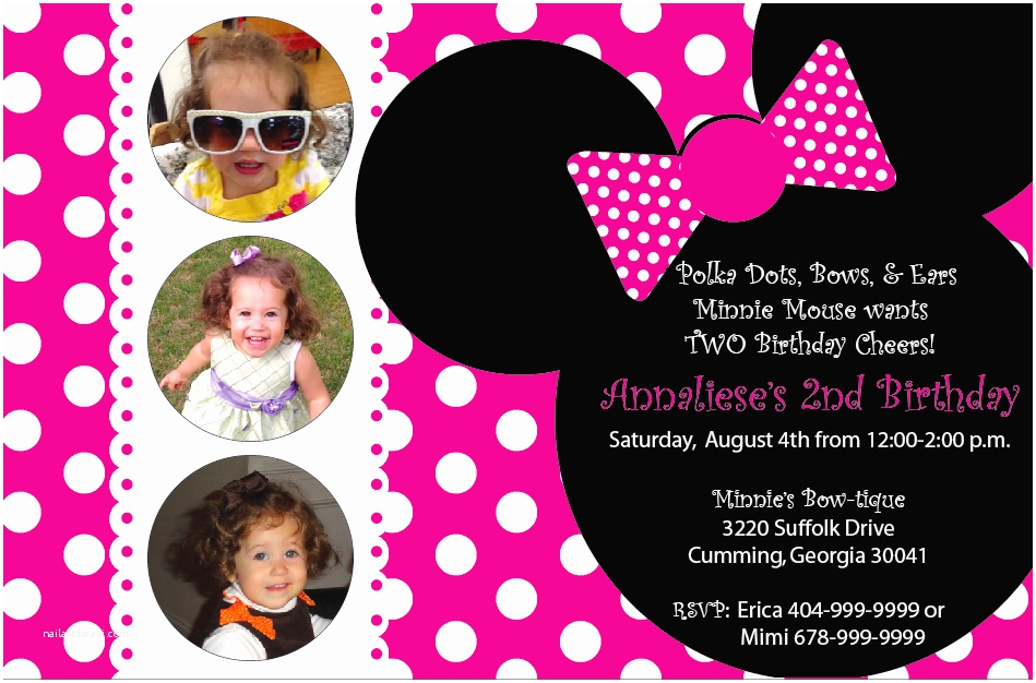 Minnie Mouse First Birthday Invitations Minnie Mouse Birthday Invitations Printable