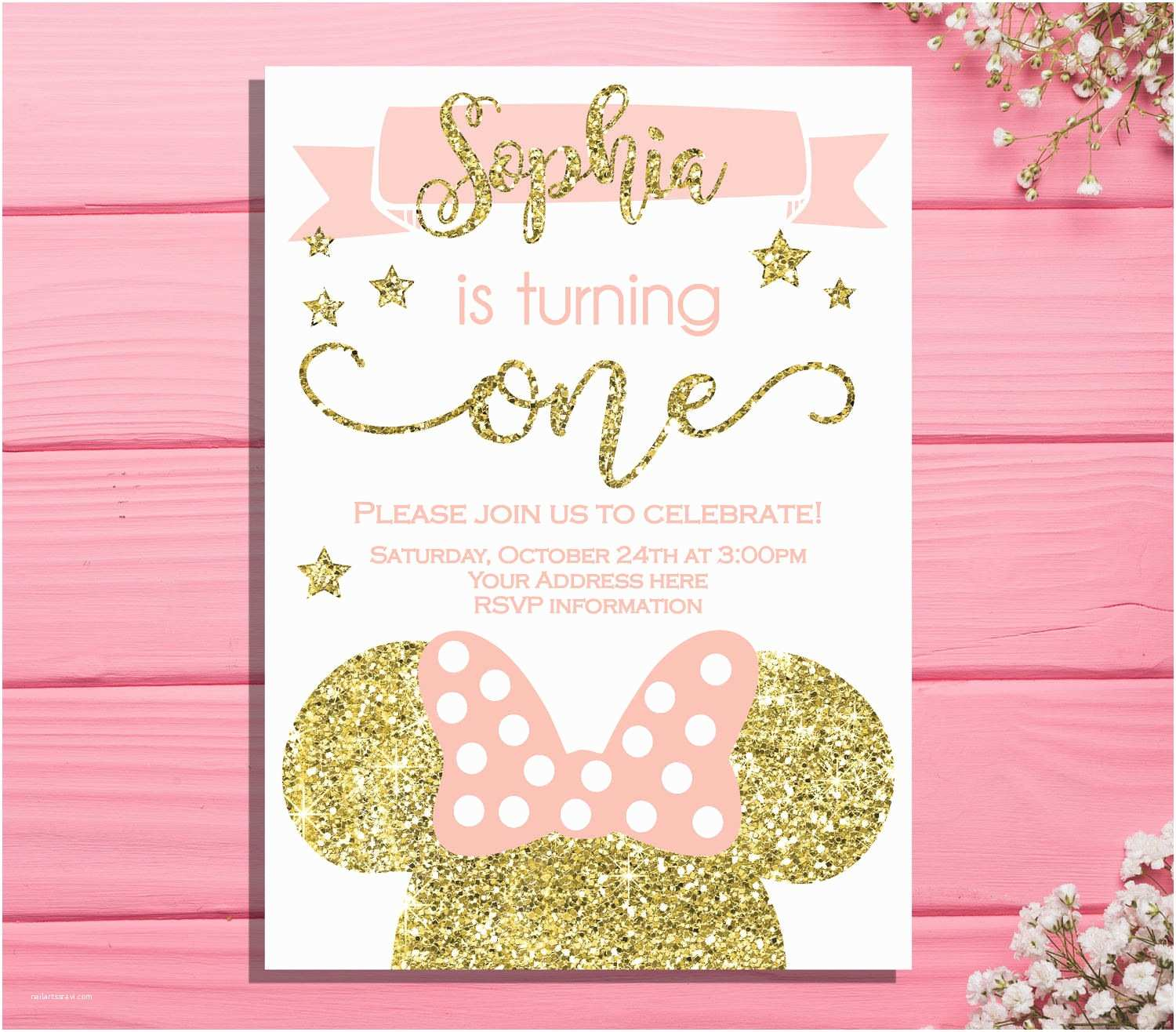 Minnie Mouse First Birthday Invitations Minnie Mouse First Birthday Invitation Minnie Birthday Party