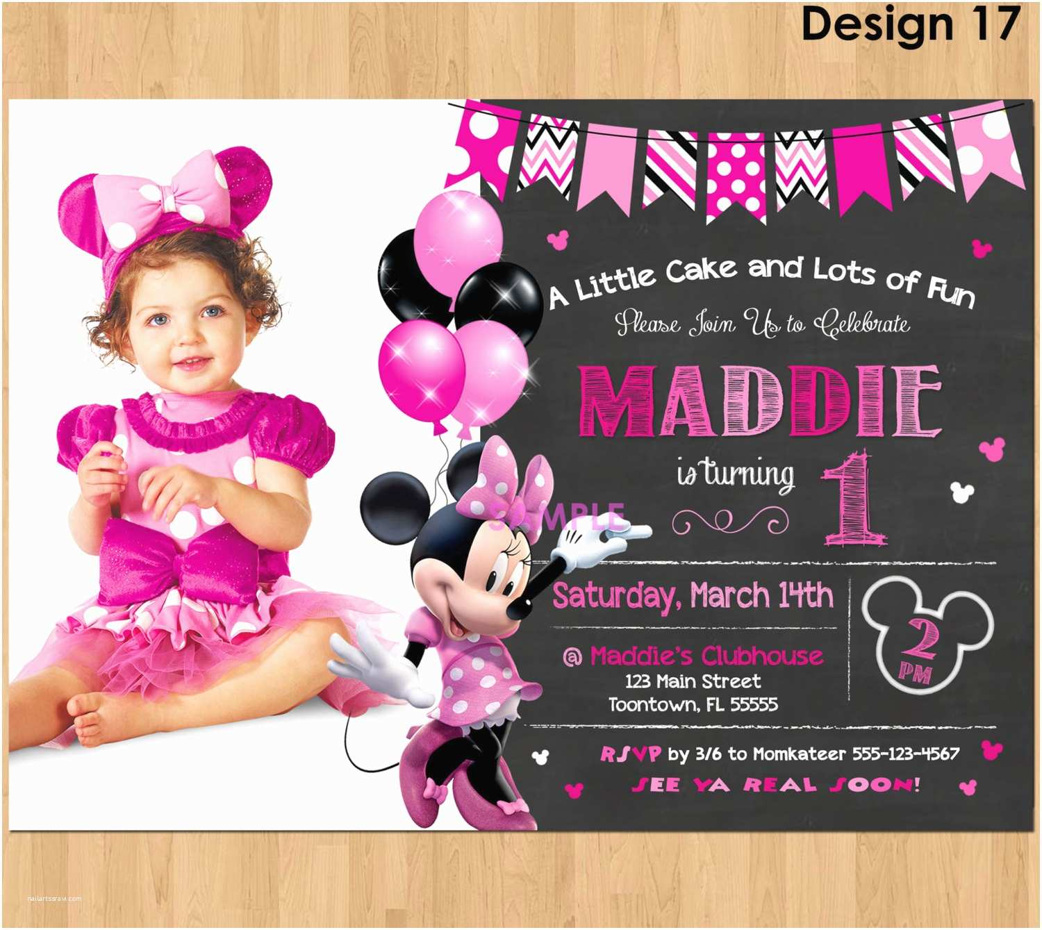 Minnie Mouse First Birthday Invitations Minnie Mouse Invitation Minnie Mouse 1st Birthday First Bday