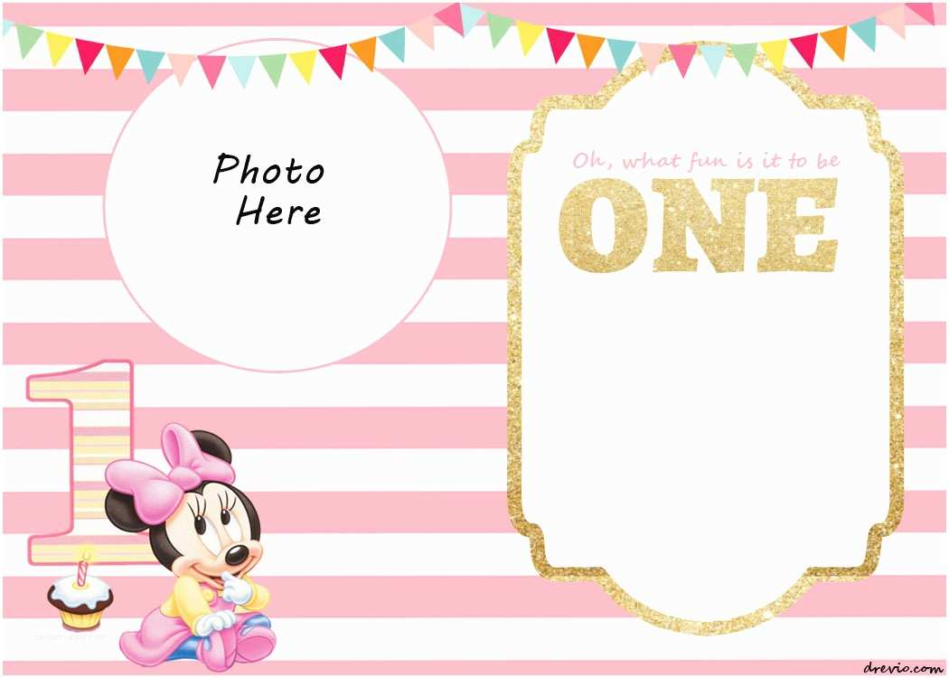 Minnie Mouse Party Invitations Free Printable 1st Invitation Templates