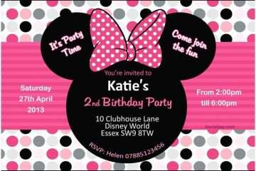 Minnie Mouse Party Invitations Birthday