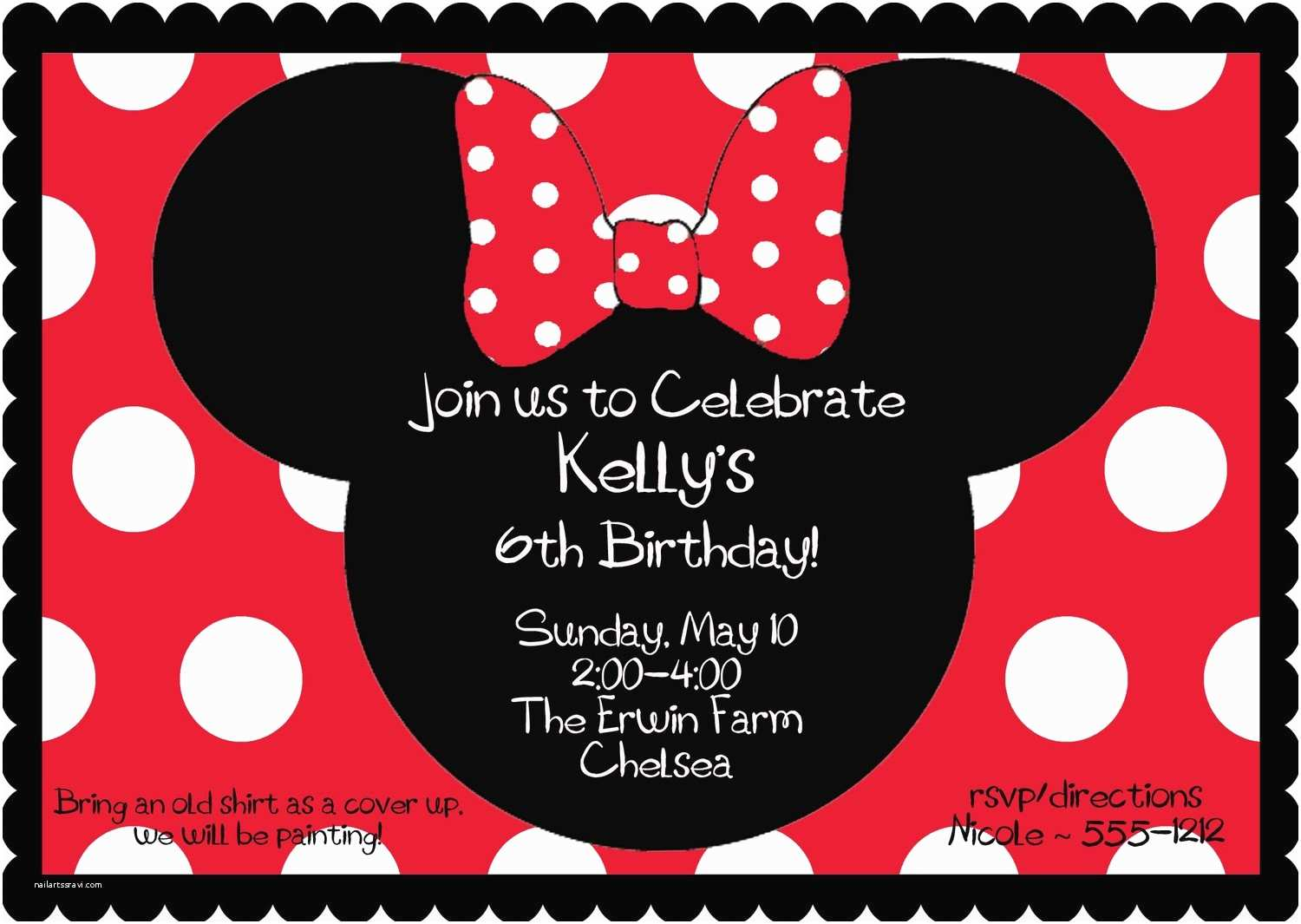 Minnie Mouse Party Invitations Red Birthday Invitation By