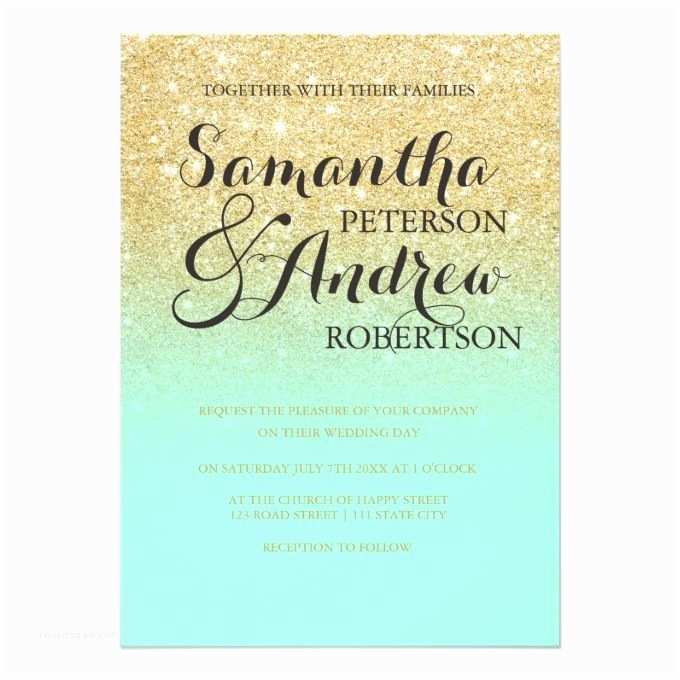 Mint and Gold Wedding Invitations Chic Faux Gold Glitter Mint Green Wedding Card