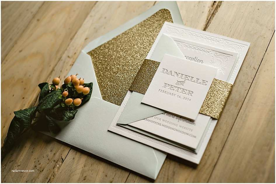 Mint and Gold Wedding Invitations Medium Grey – Jupiter and Juno