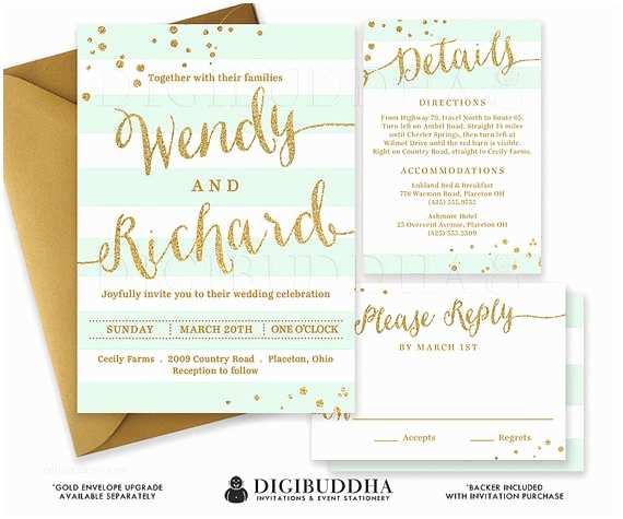 Mint and Gold Wedding Invitations Mint & Gold Wedding Invitation Glitter Confetti 3 Pc Suite