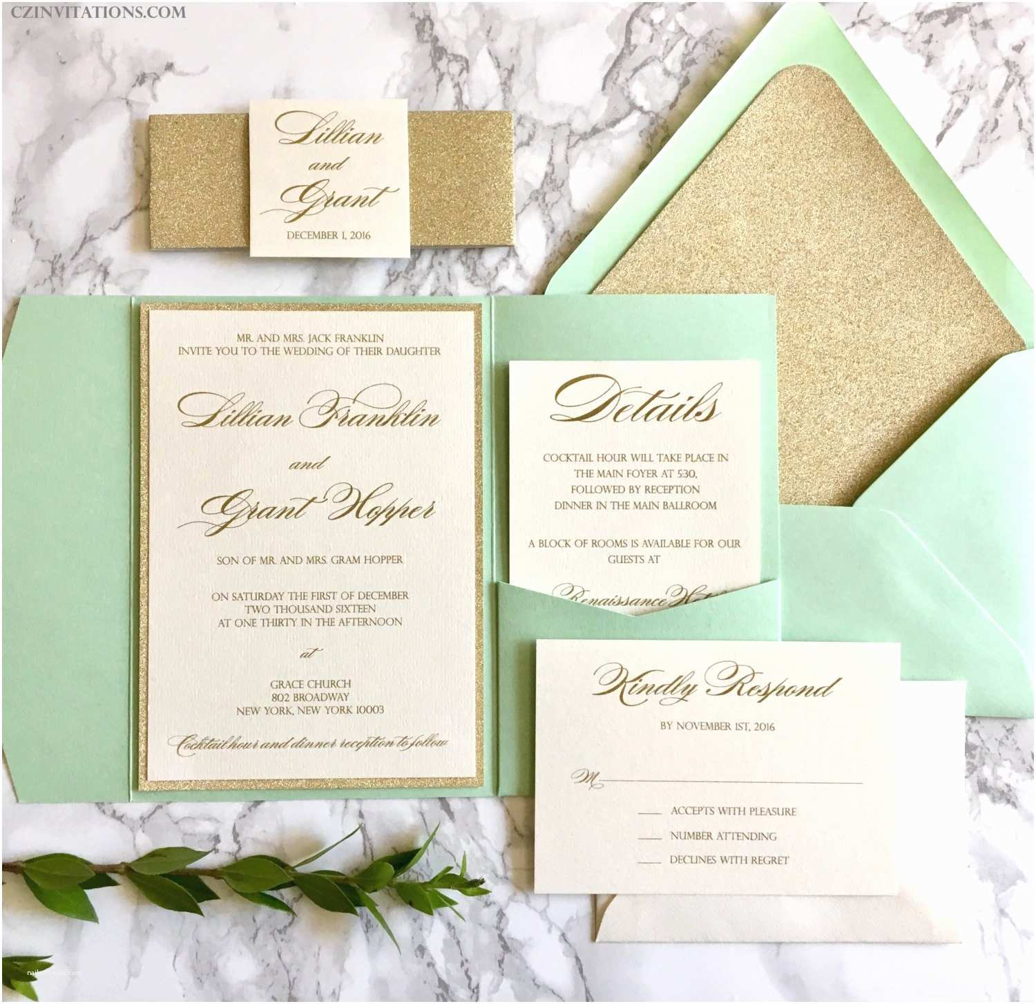 Mint and Gold Wedding Invitations Mint and Gold Glitter Pocket Wedding Invitations with Glitter