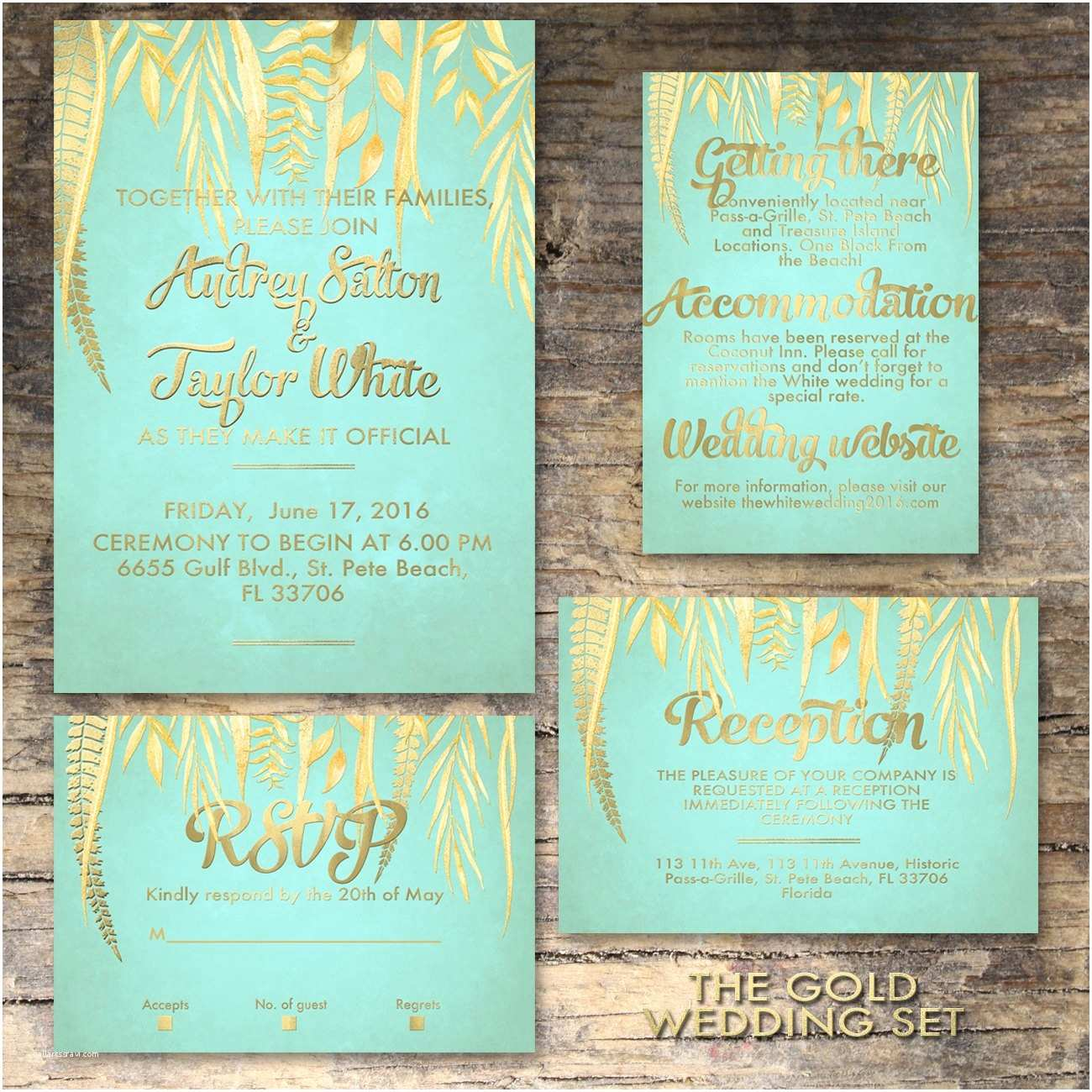 mint and gold wedding invitation