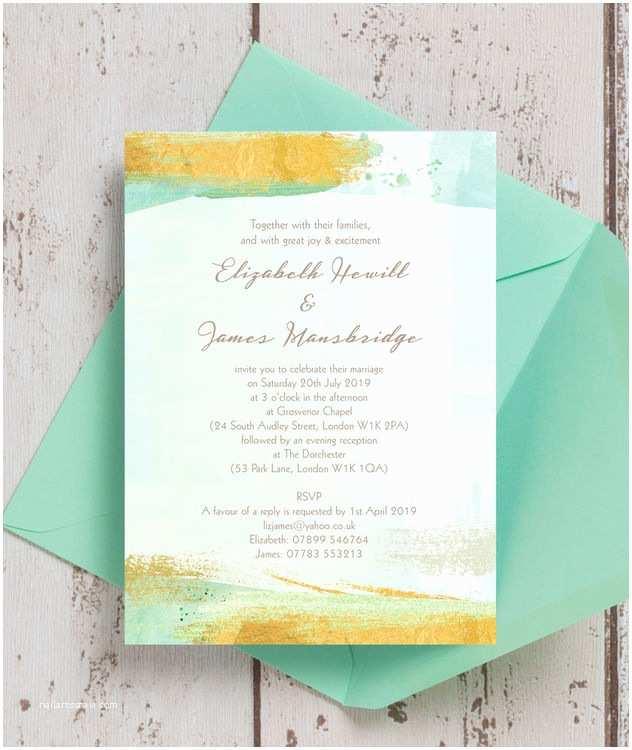 Mint and Gold Wedding Invitations Mint Green & Gold Brush Strokes Wedding Invitation From £1