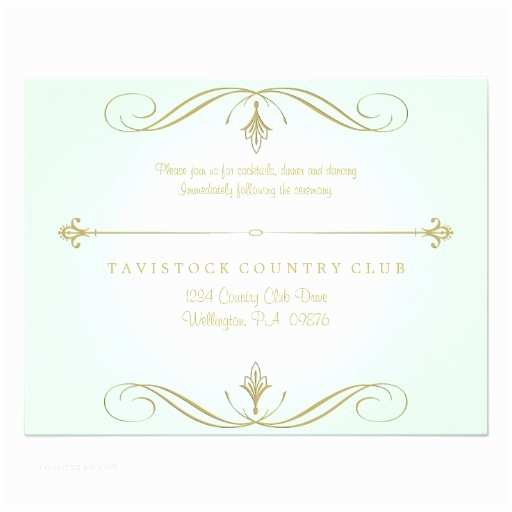 """Mint and Gold Wedding Invitations Mint Green and Gold Wedding Reception Card 4 25"""" X 5 5"""