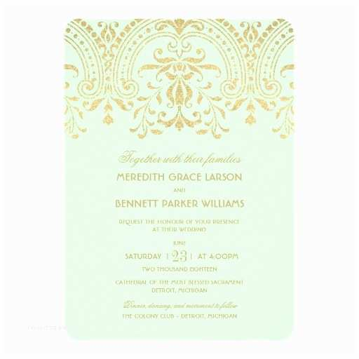 Mint and Gold Wedding Invitations Wedding Invitations Mint Gold Vintage Glamour