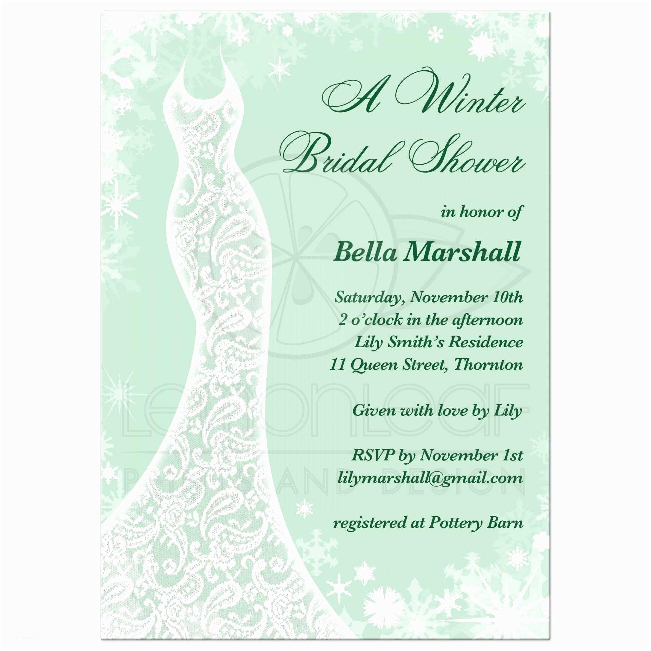 Mint Color Wedding Invitations Bridal Shower Invitation Beautiful Winter Mint
