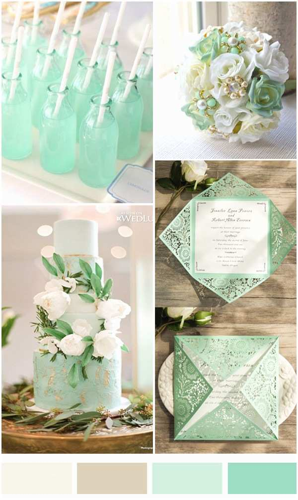 Mint Color Wedding Invitations Cheap Simple Classic Mint Green Laser Cut Invitations