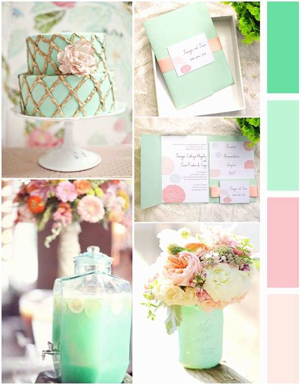 Mint Color Wedding Invitations Inexpensive Mint and Peach Ribbon Dandelion Spring Wedding