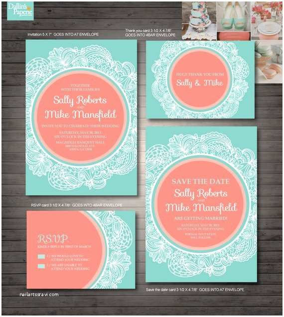Mint Color Wedding Invitations Items Similar to Coral and Mint Green Wedding Printables