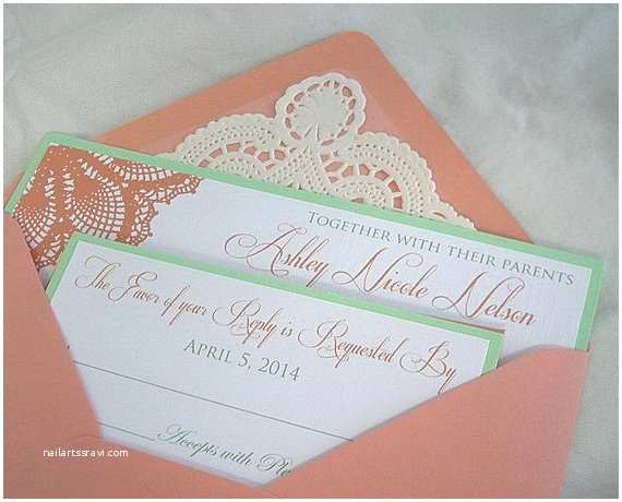 Color Wedding Invitations Items Similar To Wedding Invitation Coral Peach And