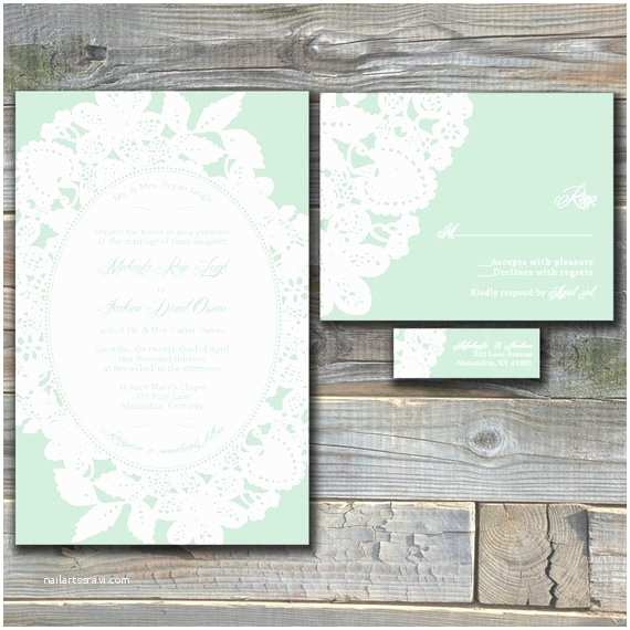 Mint Color Wedding Invitations Lace Wedding Invitation Suite Mint Green Custom Wedding
