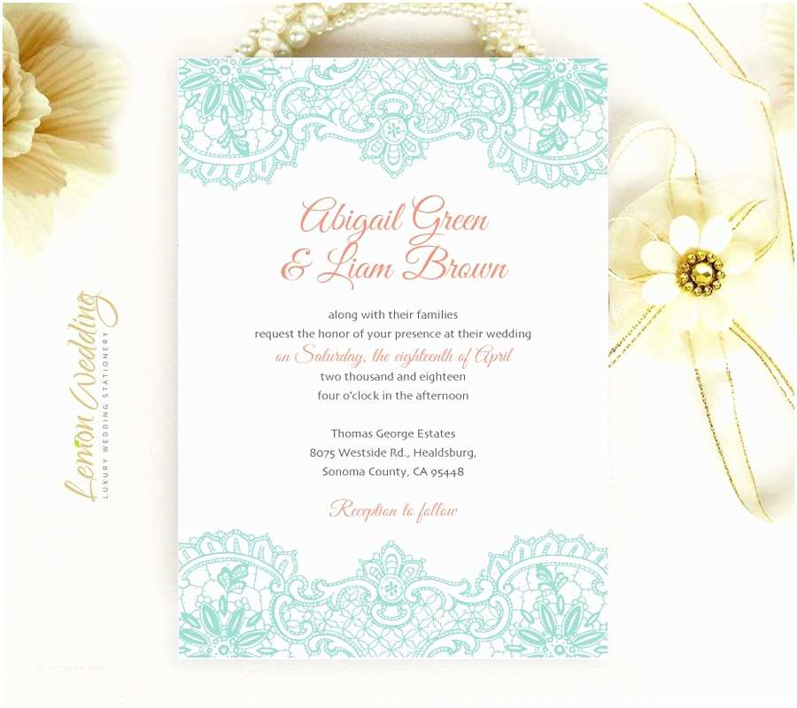 Mint Color Wedding Invitations Mint and Coral Wedding Invitations with Lace Cheap