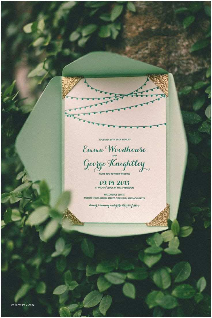 Mint Color Wedding Invitations Mint and Gold Wedding Invitations