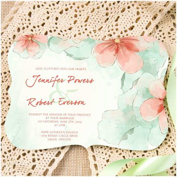Mint Color Wedding Invitations Mint and Peach Watercolor Flower themed Bracket Shaped