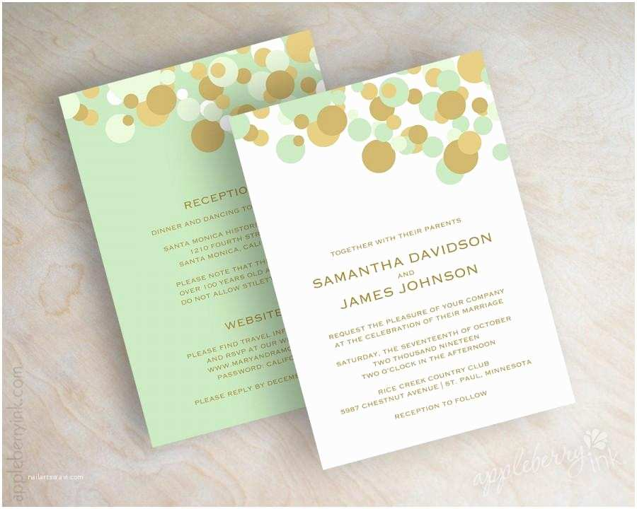 Mint Color Wedding Invitations Mint Green and Gold Polka Dot Wedding Invitations Wedding