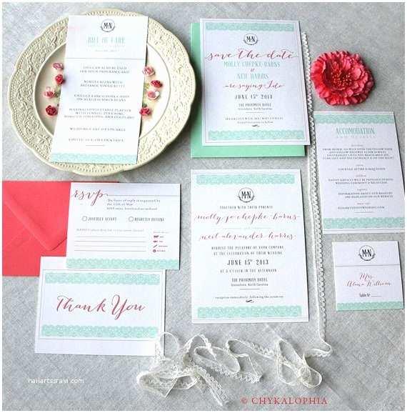 Mint Color Wedding Invitations Mint Peach & Coral Wedding Color