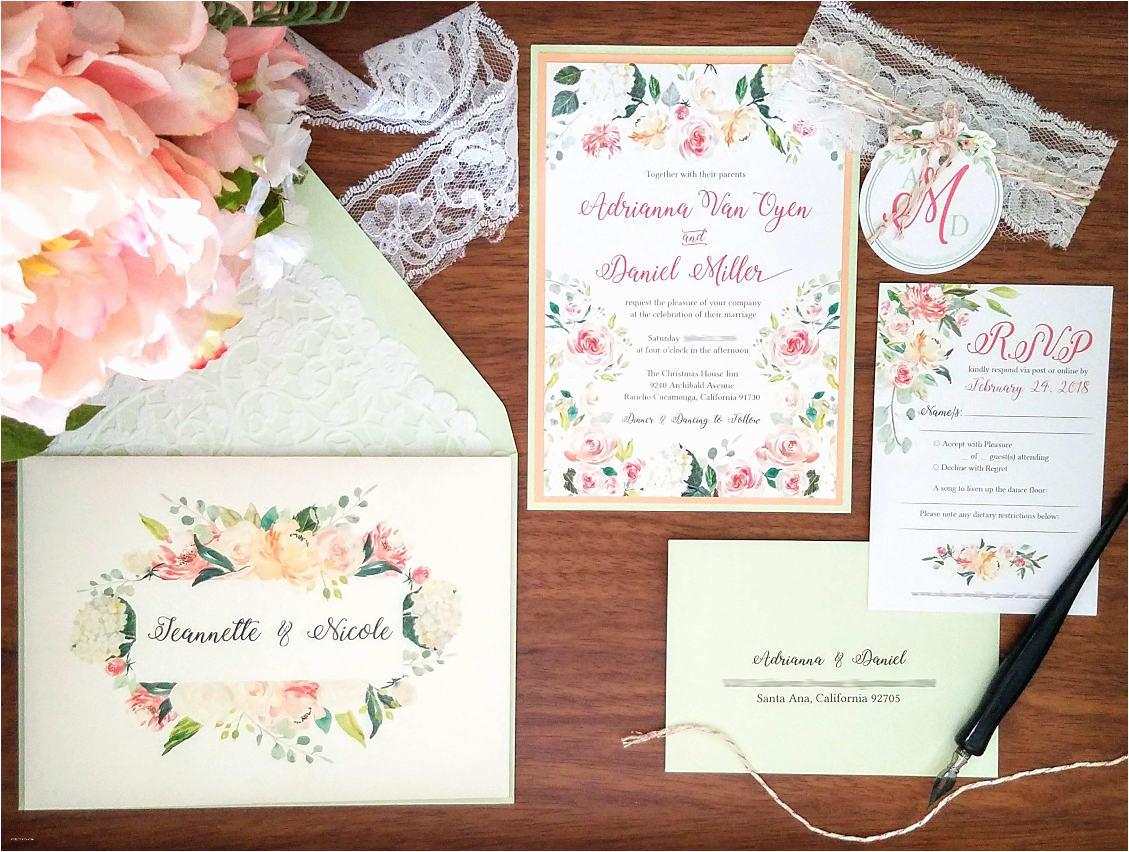 Mint Color Wedding Invitations My Diy Story Peach & Mint Floral Wedding Invitation