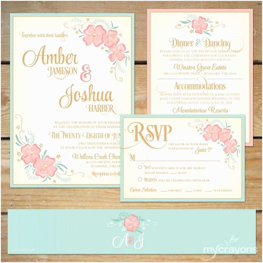 Mint Color Wedding Invitations Printable Floral Wedding Invitation Suite Diy Wedding