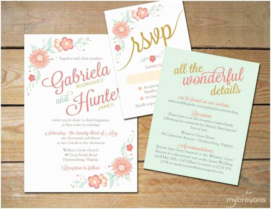 Mint Color Wedding Invitations Romantic Floral Wedding Invitation Printable