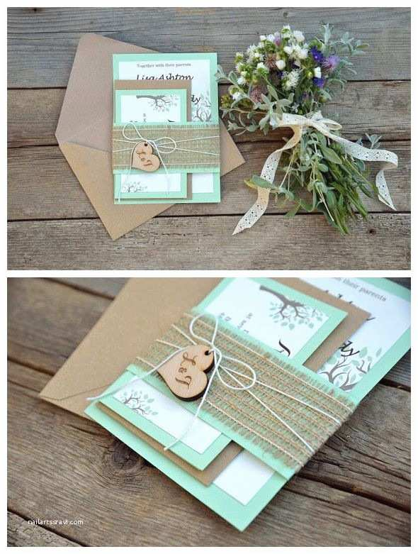 Mint Color Wedding Invitations Rustic Wedding Invitation Mint Green with Prints