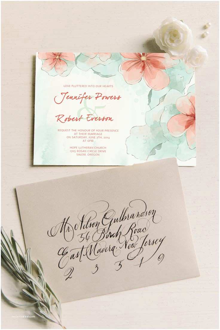 Mint Color Wedding Invitations Spring Mint Green and Peach Flower Watercolor Wedding
