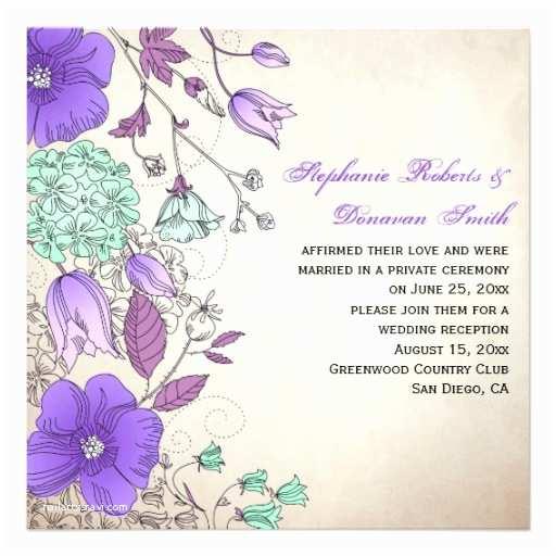 Mint Color Wedding Invitations Vintage Purple Lavender Mint Wildflowers Weddings 5 25x5