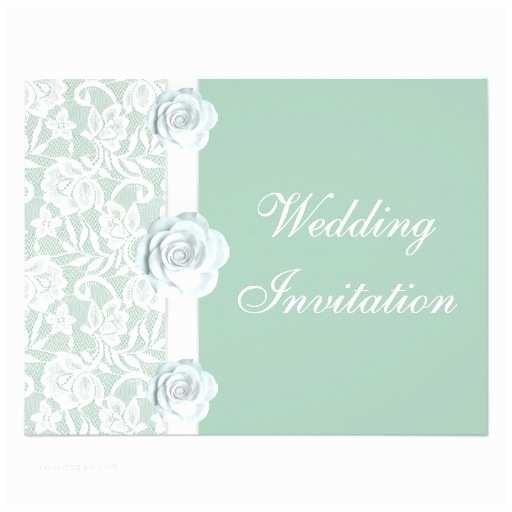 "Mint Color Wedding Invitations White Roses & Lace Mint Green Wedding Invitation 4 25"" X 5"