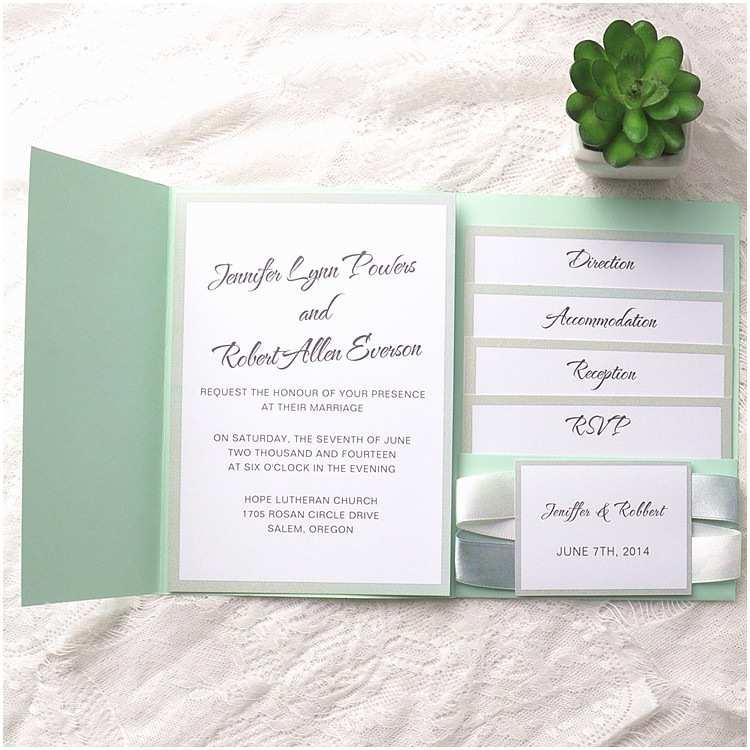 Mint Green Wedding Invitations Chic Mint Green Pocket Ribbon Wedding Invitations Ewpi130