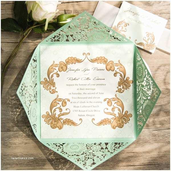 Mint Green Wedding Invitations Elegant Mint Green Laser Cut Wedding Invitations Ewws116
