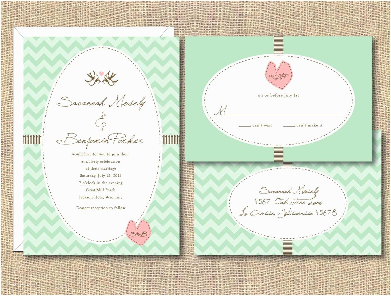 Mint Green Wedding Invitations Mint Green and Pink Wedding Invitations Vintage Mi